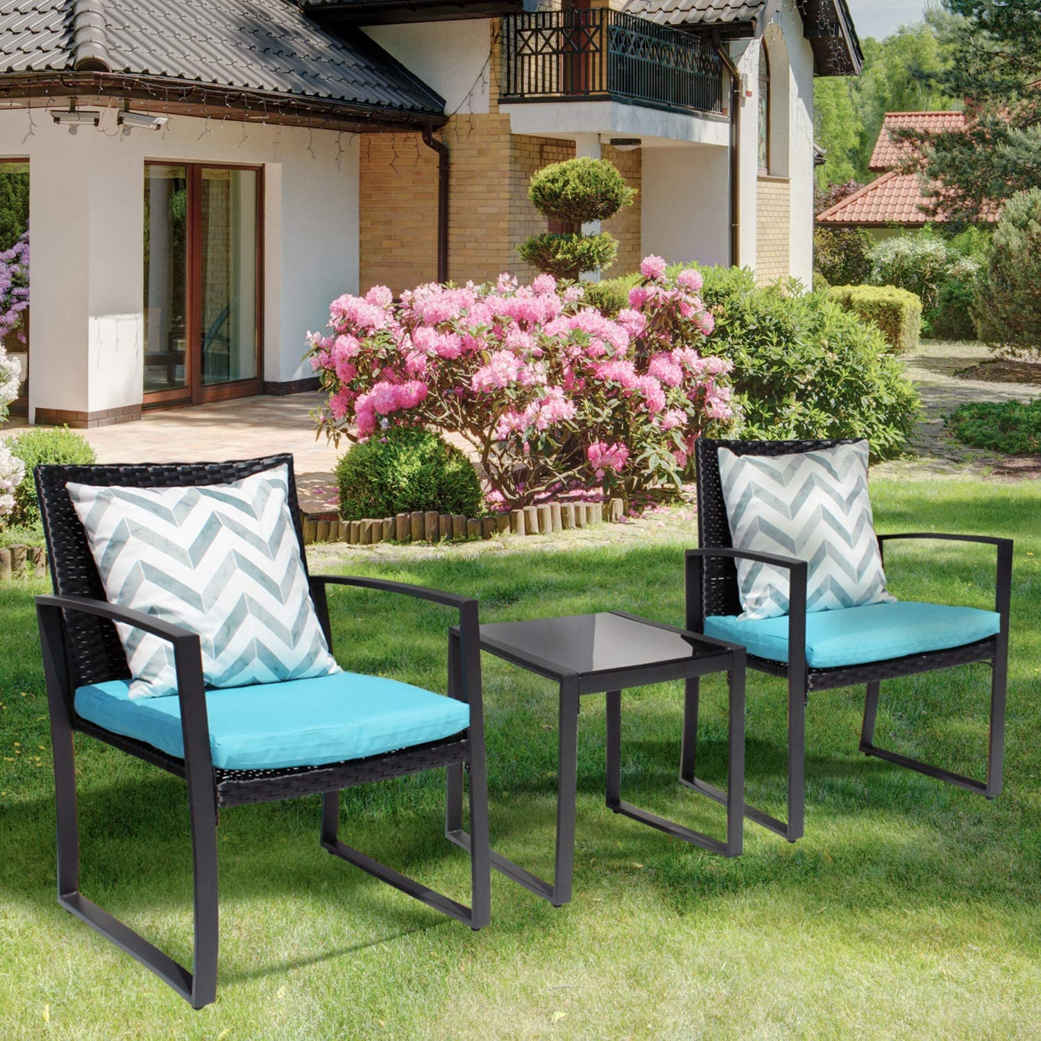 Pyramid Home Decor Black Wicker Furniture - 3 Piece Bistro Set for Outdoor Conversation - 2 Cushioned Rattan Chairs with Glass Coffee Table for Patio, Lawn, Porch, Lounge, Deck, Balcony & Living Room
