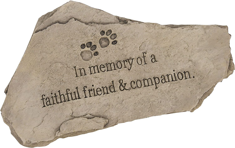 "Evergreen Garden Tiny Paws Pet Memorial Polystone Stepping Stone - 15""W x 9""H"