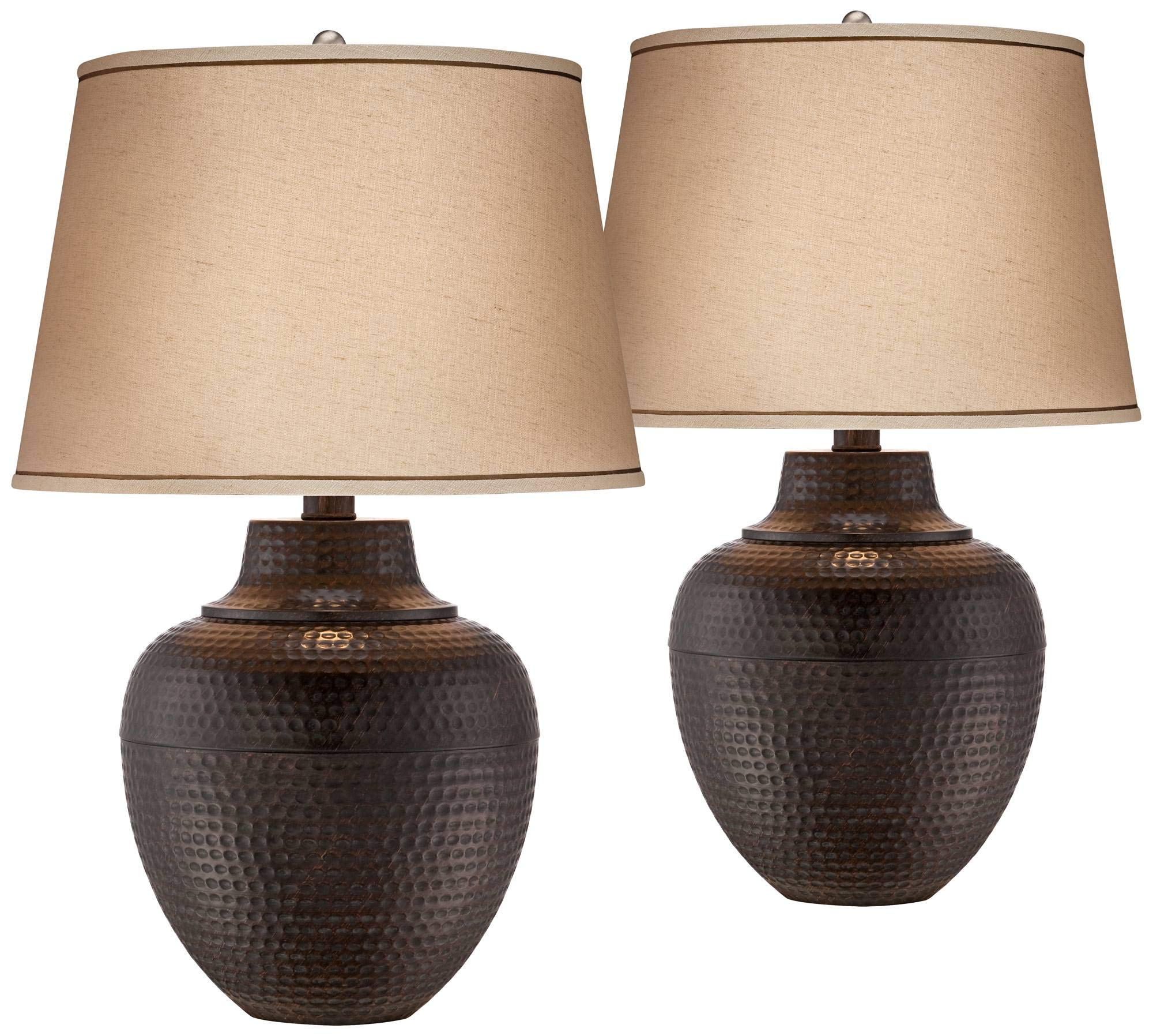 Brighton Rustic Table Lamps Set of 2 Hammered Bronze Metal Pot Beige Linen Drum Shade for Living Room Family Bedroom Bedside - Barnes and Ivy