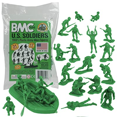 BMC Marx Plastic Army Men US Soldiers - Green 31pc WW2 Figures - Made in USA: Toys & Games