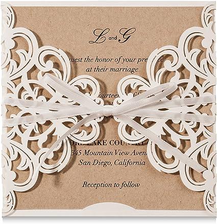 Wishmade 50 Stücke Einladungskarten Für Hochzeit Geburtstag Taufe Party Elfenbeinenfarbe Borte Laser Cut Mit Schleife Kraftpapier Blanko Set
