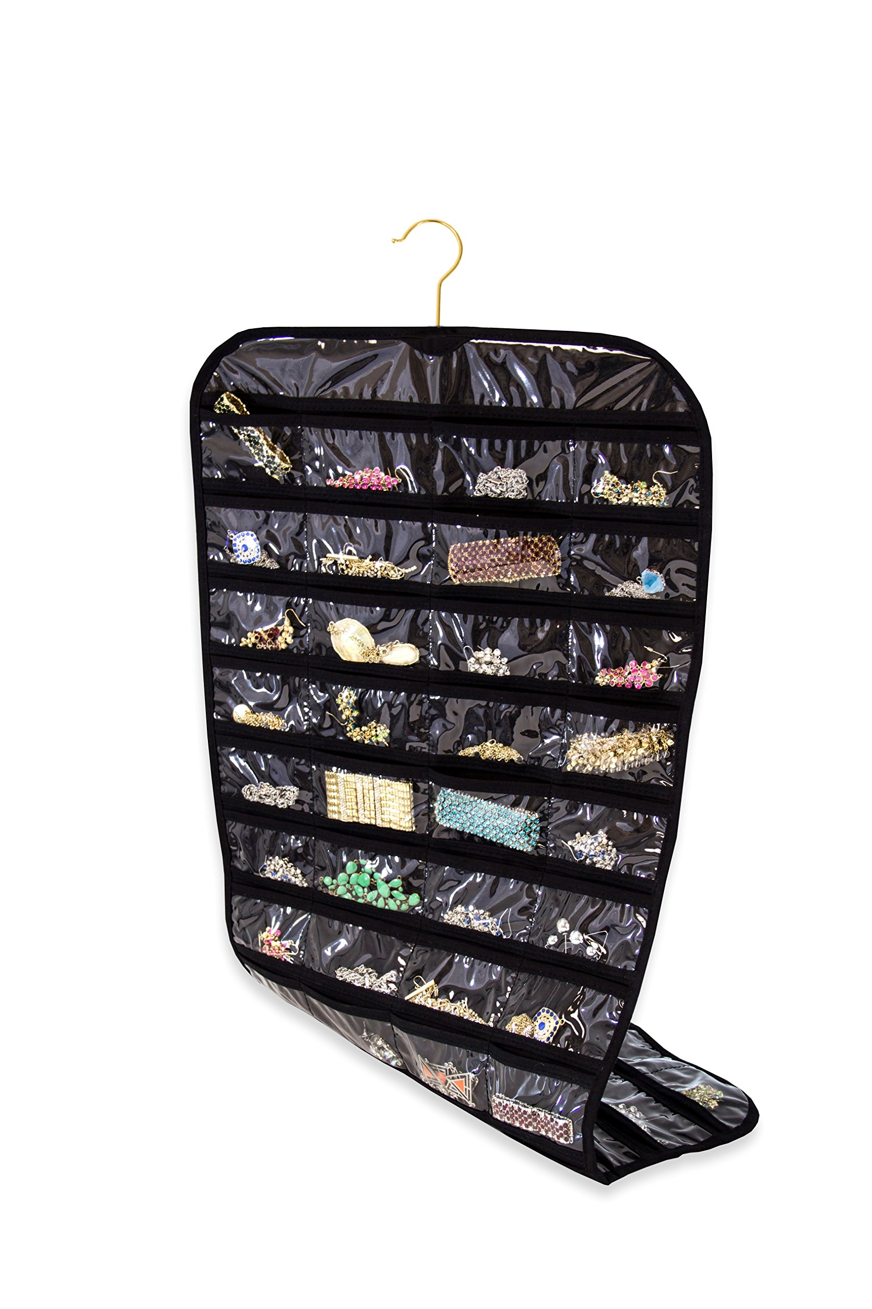 Closet Complete Premium Quality Canvas, Hanging Double Sided, 360 Degree Rotation, 80 Pockets | Best for Jewelry & Accessory Organization, Black