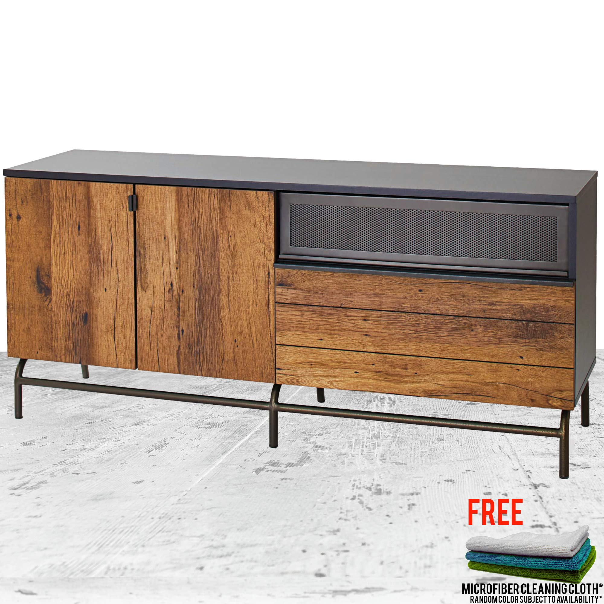 Lindon Place Entertainment Credenza for TV's up to 60 inches, Vintage Oak Finish TV Stand Bundle with Free Microfiber Cleaning Cloth