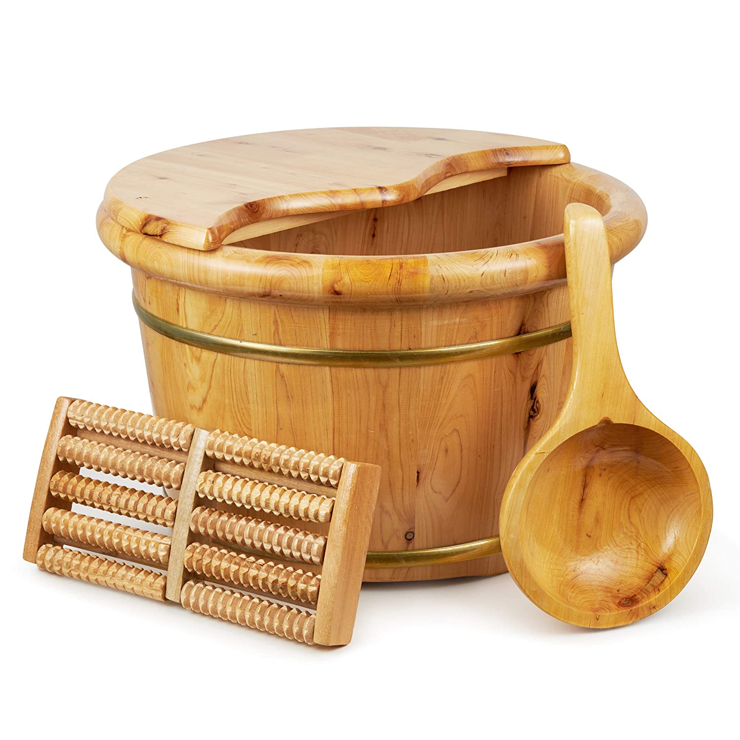 Wooden Foot Soak Tub Spa Bucket- 15 Inch Solid Cedar Wood Feet Bathing Barrel with Cover Lid and Massager Roller Spoon for Foot Detox