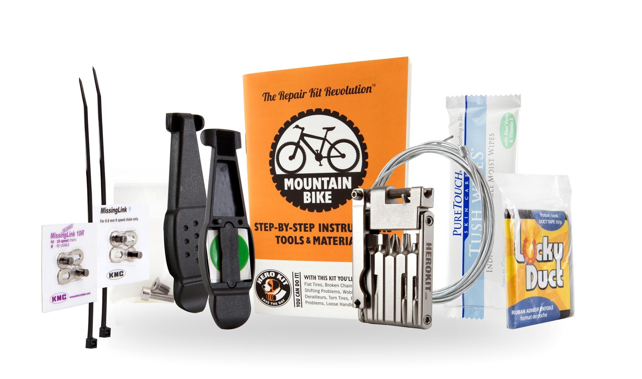Mountain Bike Repair Kit with Multitool, Tire Levers, Chain Links, Cables, Bolts, Instructions. Hero Kit Perfect for Mountain Bikers of All Levels.