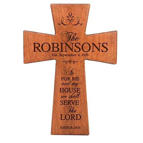 LifeSong Milestones As for Me and My House Cherry Wood Wall Cross Personalized Housewarming Gift