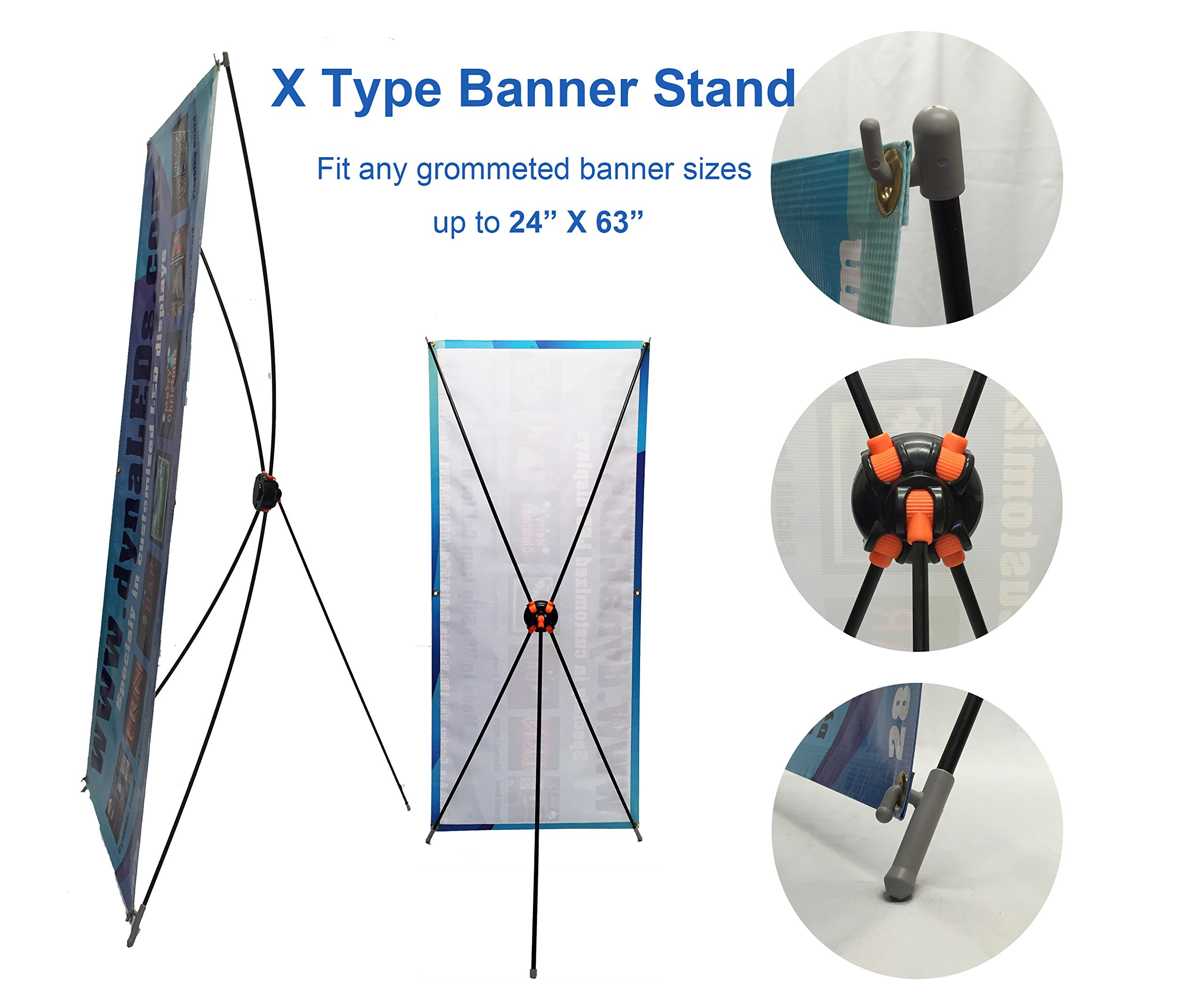 """TheDisplayDeal X type Banner Stand Economy Grade for 24""""X63'' Size Grommeted Banner (2pcs24x63new)"""