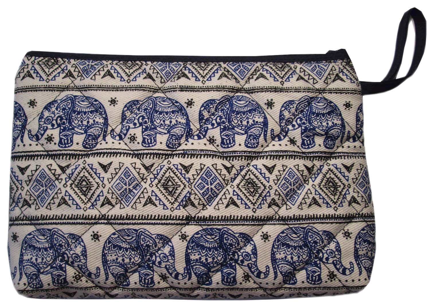 Makeup Cosmetic Bag Small Travel Purse Pencil Pen Case Pouch Elephant Canvas Unique Handmade Blue