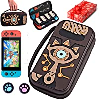 Carrying Case Compatible Nintendo Switch Zelda-Outdoor Waterproof Carrying Case-Travel Silicone Hard Shell Embossed Zelda Handbag with Link Sheikah Slate Eye for Nintendo Switch Console & Accessories