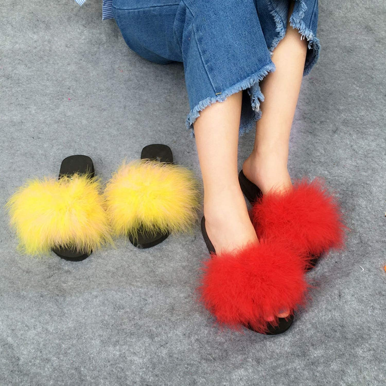 Charismatic-Vibrators sandals F-ur Slides Women Ostrich with Feathers Sweet Beach Shoes Summer Fashion Sliders Flip Flops,Pink 2,6.5