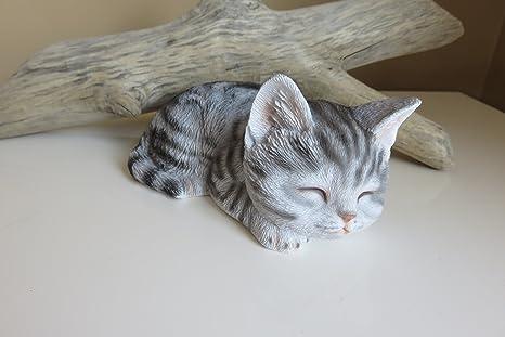 Amazon Com Chosentreasures4you Grey Tabby Cat Kitten Figurine Sleeping Eyes Closed Home Kitchen