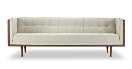 Genial Kardiel Woodrow Midcentury Modern Box Sofa, Urban Hemp Twill/Walnut