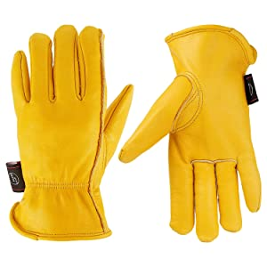 KIM YUAN Leather Work Gloves for Gardening/Cutting/Construction/Farm/Motorcycle, Men & Women, with Elastic Wrist, X-Large