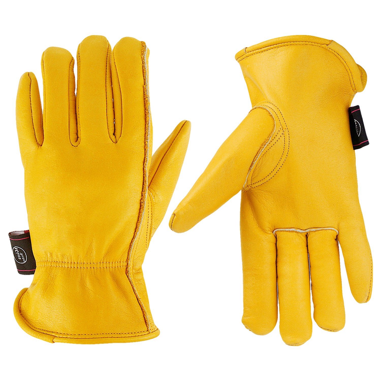 KIM YUAN Leather Work Gloves for Gardening/Cutting/Construction/Motorcycle/Farm, Men & Women, with Elastic Wrist, Large