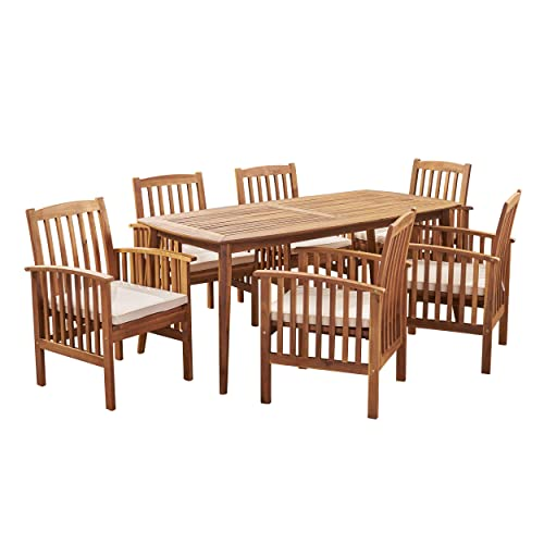 Great Deal Furniture Alma Acacia Patio Dining Set, 6-Seater, 71 Rectangular Table with Straight Legs, Teak Finish, Cream Outdoor Cushions
