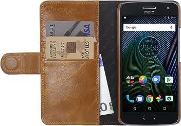 StilGut Talis Case con Tasca per Carte, Custodia in Pelle Cover per Lenovo Moto G5 Plus. Chiusura a Libro Flip-Case in Vera Pelle Fatta a Mano, Cognac