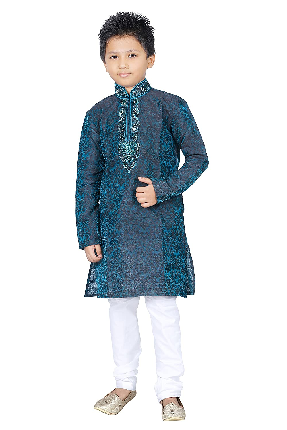 Amazon.com: Indian Kurta Sherwani Boys Suit In Blue (2 Pcs) 1-12 ...