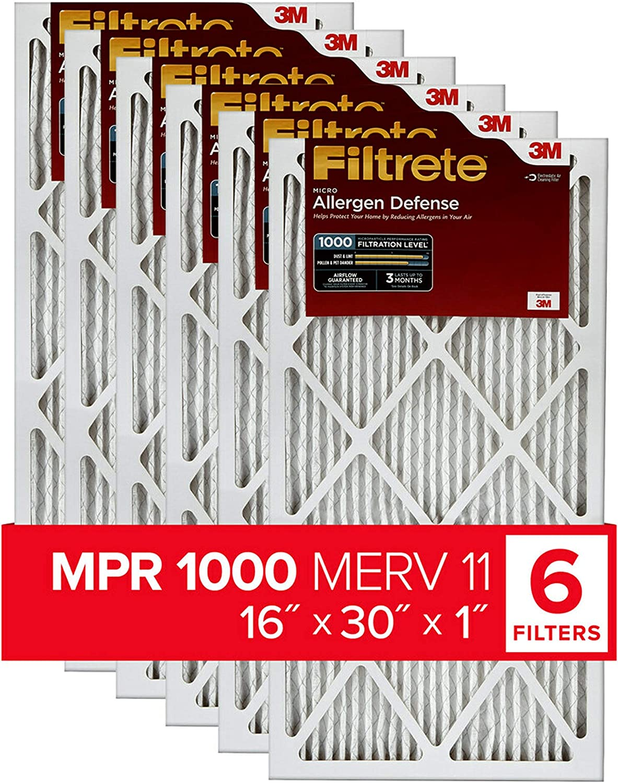 MPR 1000 AC Furnace Air Filter 6-Pack Micro Allergen Defense Renewed Filtrete 21x21x1