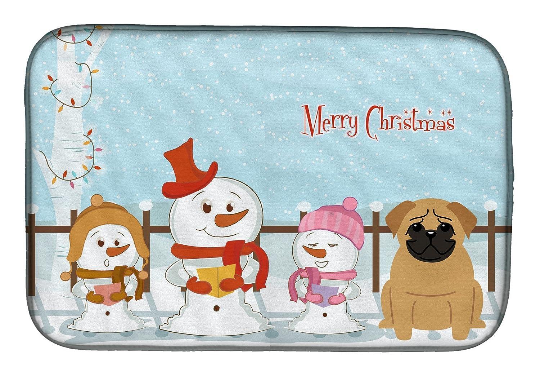 Caroline 's Treasures bb2338ddm Merry Christmas Carolersパグブラウンディッシュ乾燥マット、14 x 21、マルチカラー   B07BQ4H617