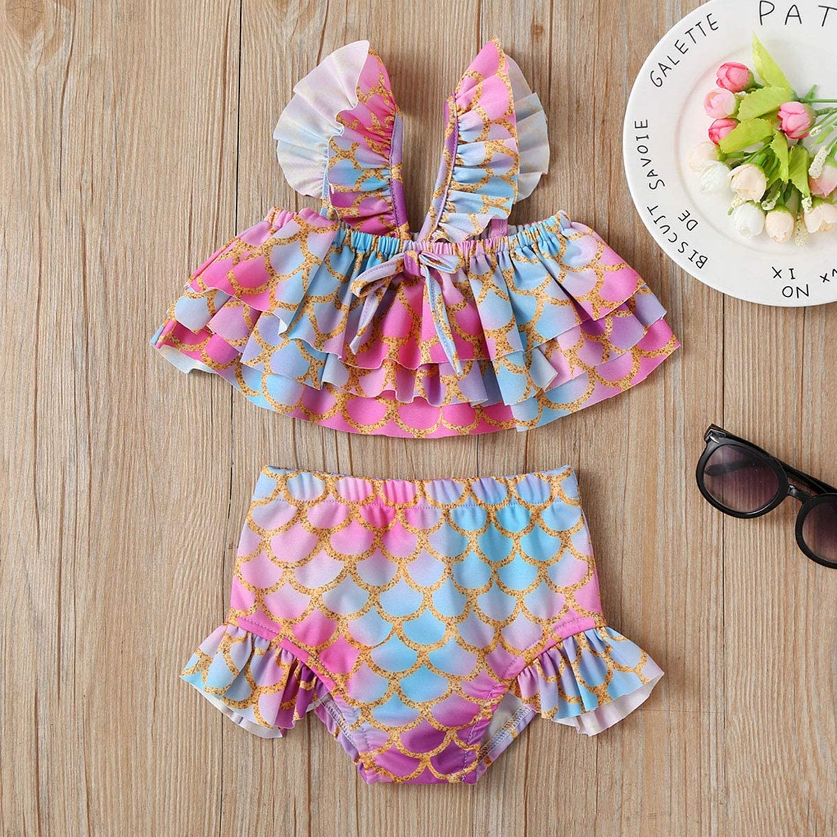 Baby Girl Bikini Striped Beach Swimsuit Ruffles Bathing Suit Adjustable Swimwear 2 Pcs Set