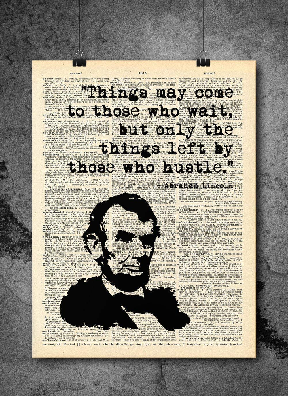 Abraham Lincoln - Hustle - Dictionary Art Print - Vintage Dictionary Print 8x10 inch Home Vintage Art Wall Art for Home Wall For Living Room Bedroom Office Ready-to-Frame