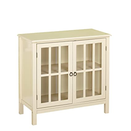 Target Marketing Systems Portland Collection Contemporary China Kitchen Cabinet With Glass Cabinet And One Shelf Antique White