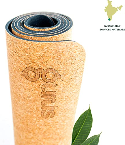 Gurus Cork Yoga Mat with Natural Rubber Bottom, Roots Eco Friendly Yoga Mat, Non Slip Yoga Cork Mat, 72×25 Inches