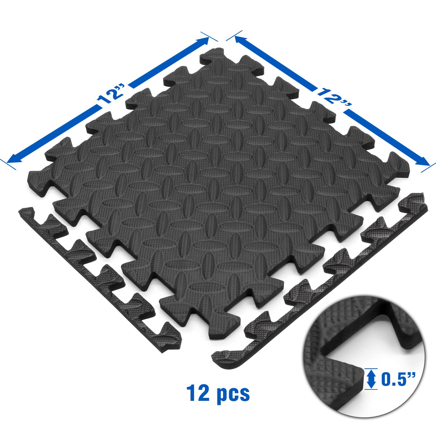 Yes4All Interlocking Exercise Foam Mats with Border – Interlocking Floor Mats for Gym Equipment – Eva Interlocking Floor Tiles (12 Square Feet, Black) by Yes4All (Image #3)