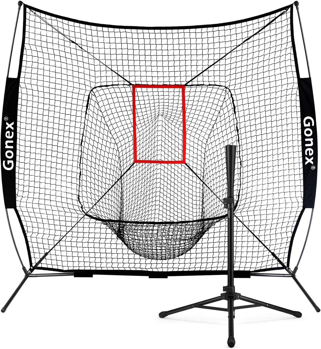 Bow Frame with Strike Zone Gonex 7 x 7 Baseball /& Softball Practice Net Set with Batting Tee for Hitting and Pitching Batting Large Mouth Black Practice Training Aid Carrying Bag