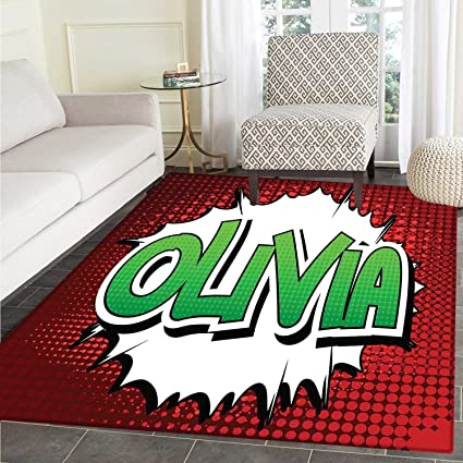 Wonderful Olivia Rugs For Bedroom Retro Comic Book Burst With Common Women`s Given  Name Teenager