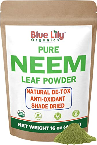 Blue Lily Organics Neem Leaf Powder Azadirachta indica 16 oz, 100 Pure, Certified Organic, Raw. For Hair, Skin, Pets and Immunity
