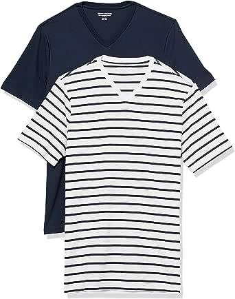 Amazon Essentials 2-Pack Slim-Fit Short-Sleeve V-Neck T-Shirt Hombre, Pack de 2