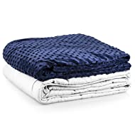 """Roore 10 lb Children or Adult (for 80 to 125 lb Adult or Child) 41""""x60"""" Navy Blue and Gray Weighted Blanket with Dotted Minkey Cover. Perfect for Children Kids Boys Girls Adults Men and Women"""