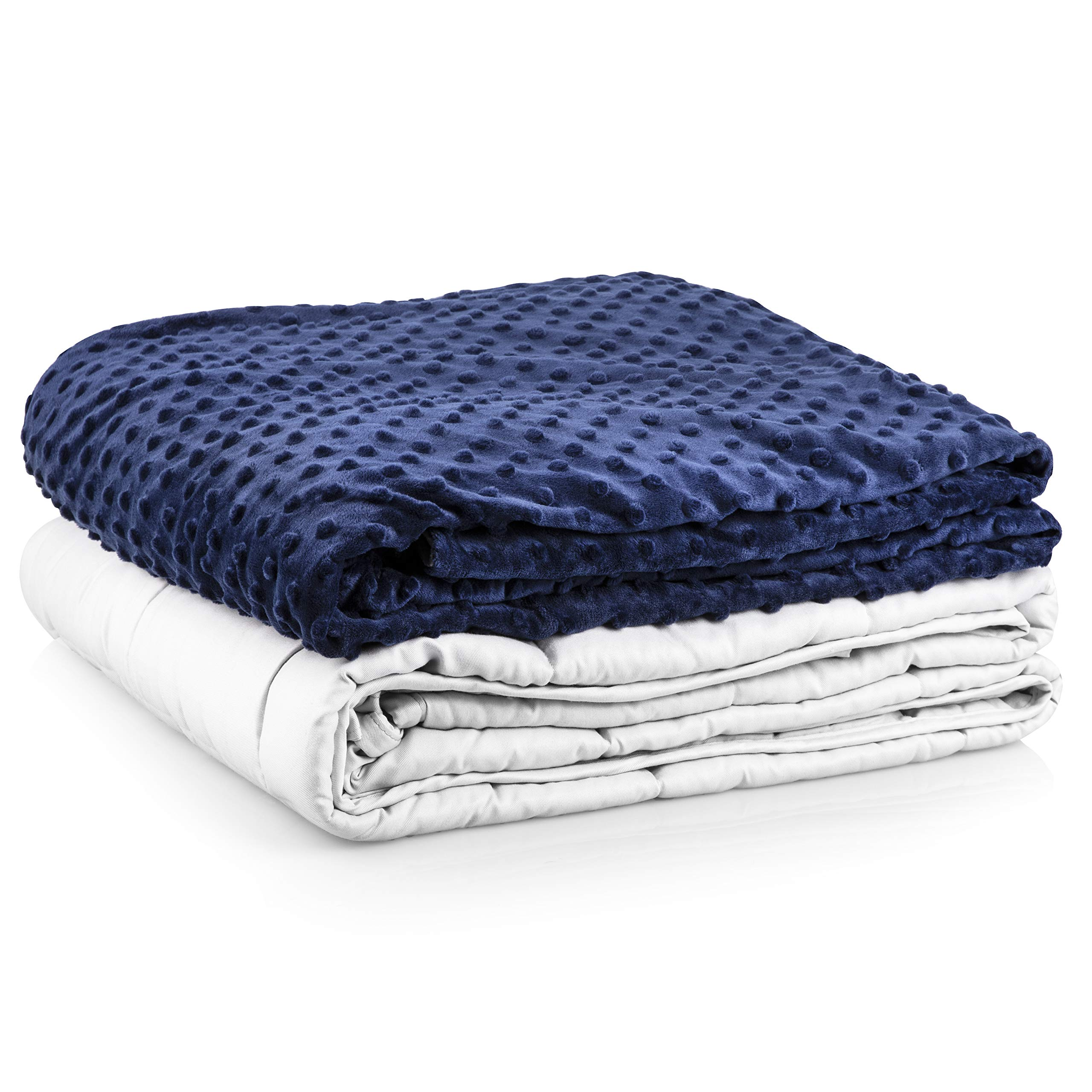 Roore 15 lb Adult (for 125 to 175 lb Adult) 48''x72'' Navy Blue and Gray Weighted Blanket with Dotted Minkey Cover. Perfect for Adults Men and Women