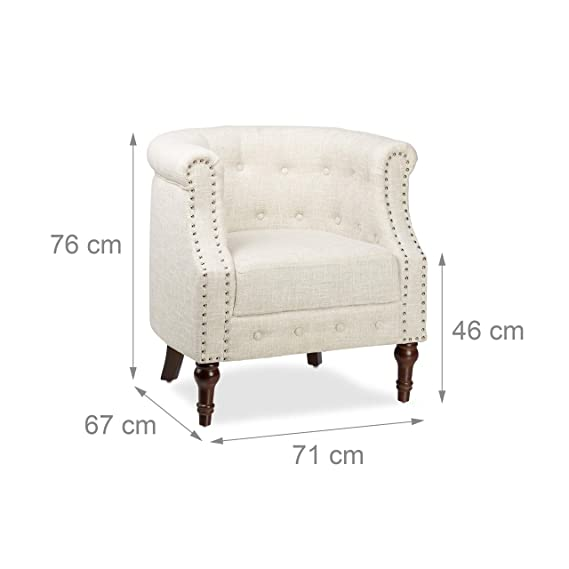 Relaxdays Fauteuil Chesterfield Chaise Vintage Rétro