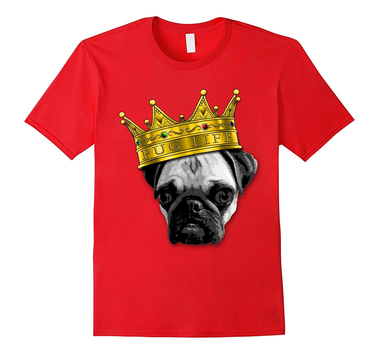 Pugs 4 Life King Top Dog W Crown Funny Tshirt K 9 Puglife