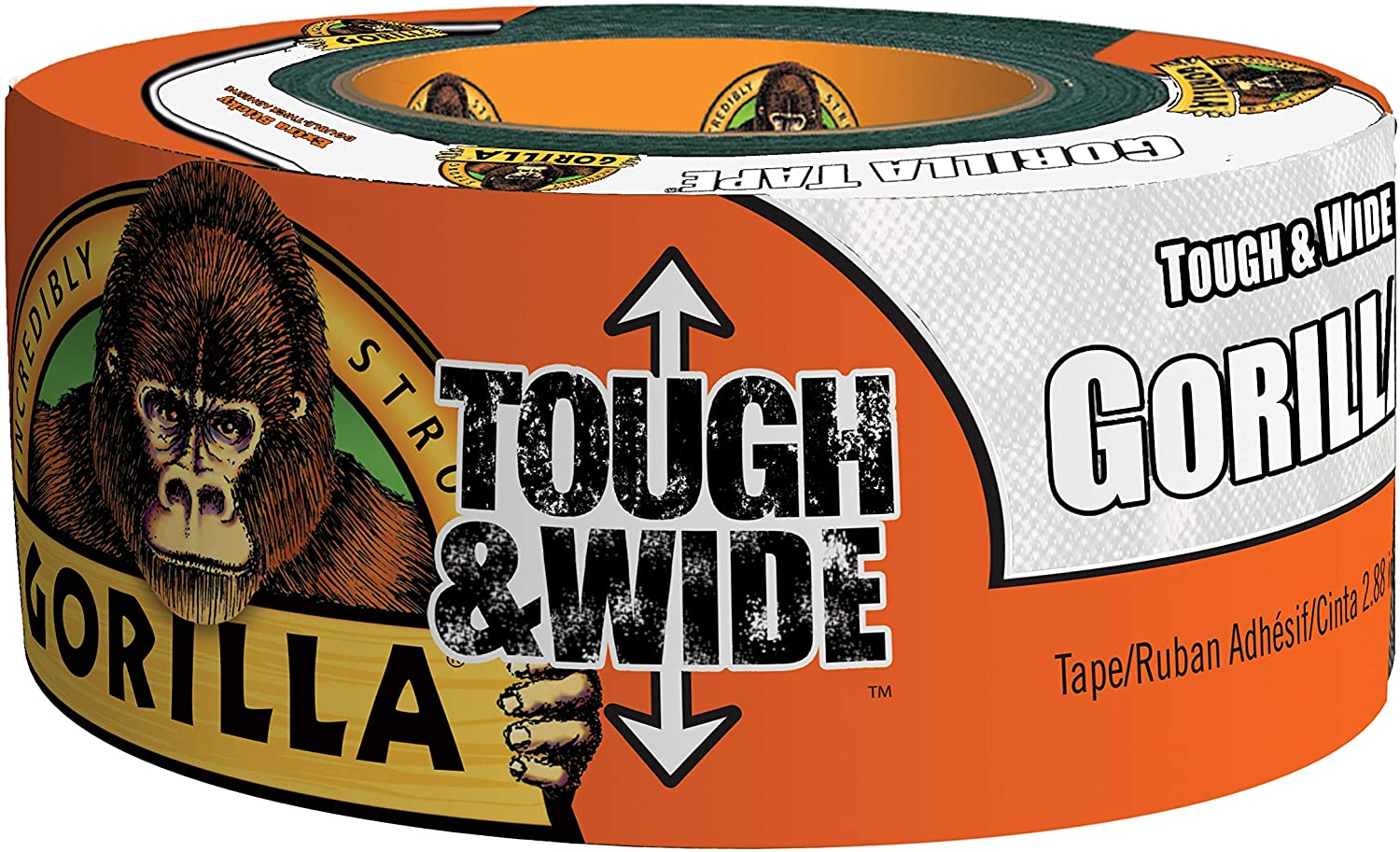 "Gorilla Tough & Wide White Duct Tape, 2.88"" x 25 yd, White (Pack of 4)"