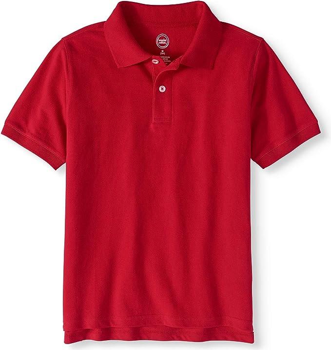 Polo Wonder Nation Short Sleeve 2 Button Collar Pique Shirt School Tagless NEW