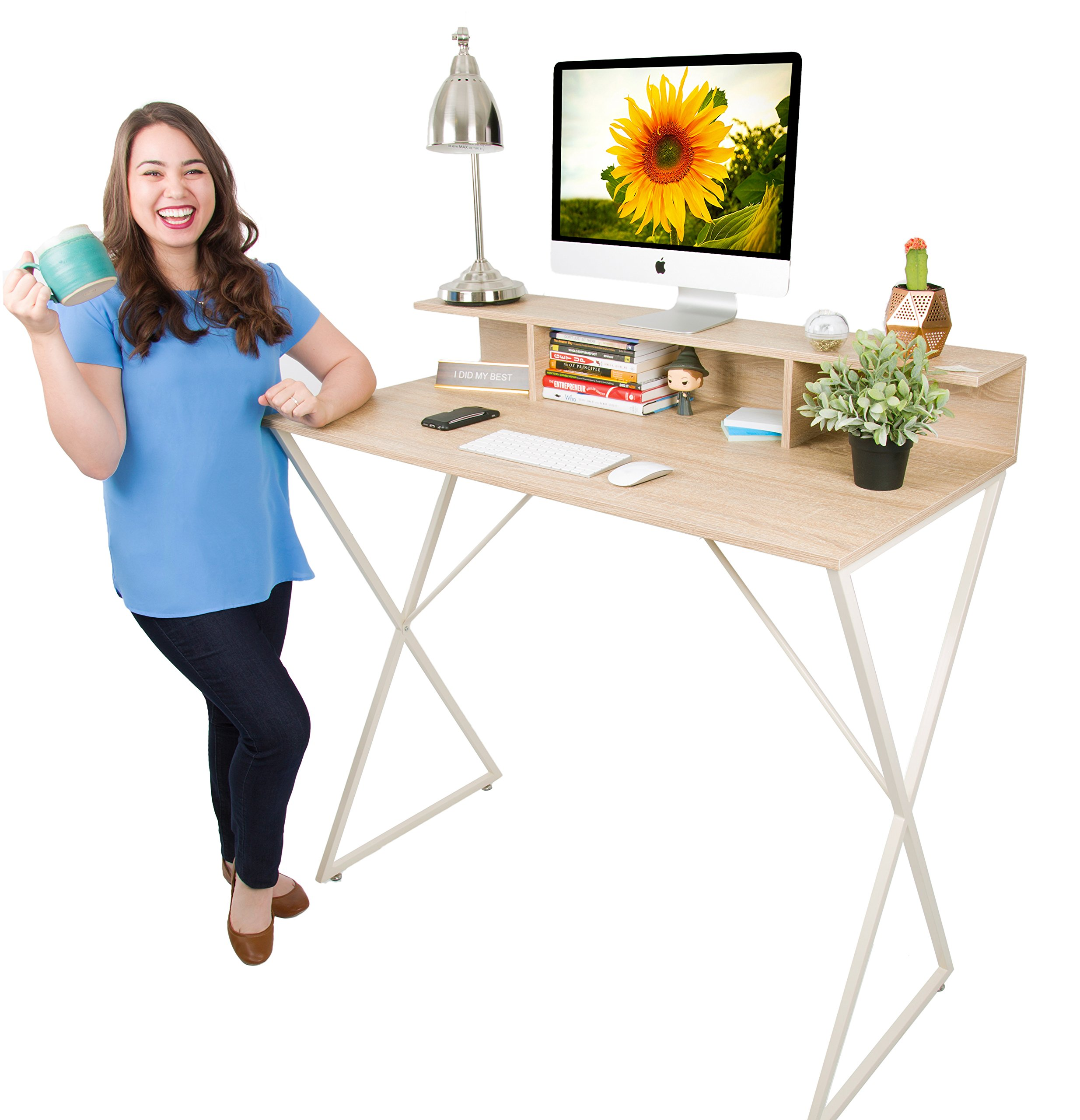 Joy Desk by Stand Steady - Modern Home Office Standing Desk Workstation with Storage Cubbies! - 47.5'' x 41.5''
