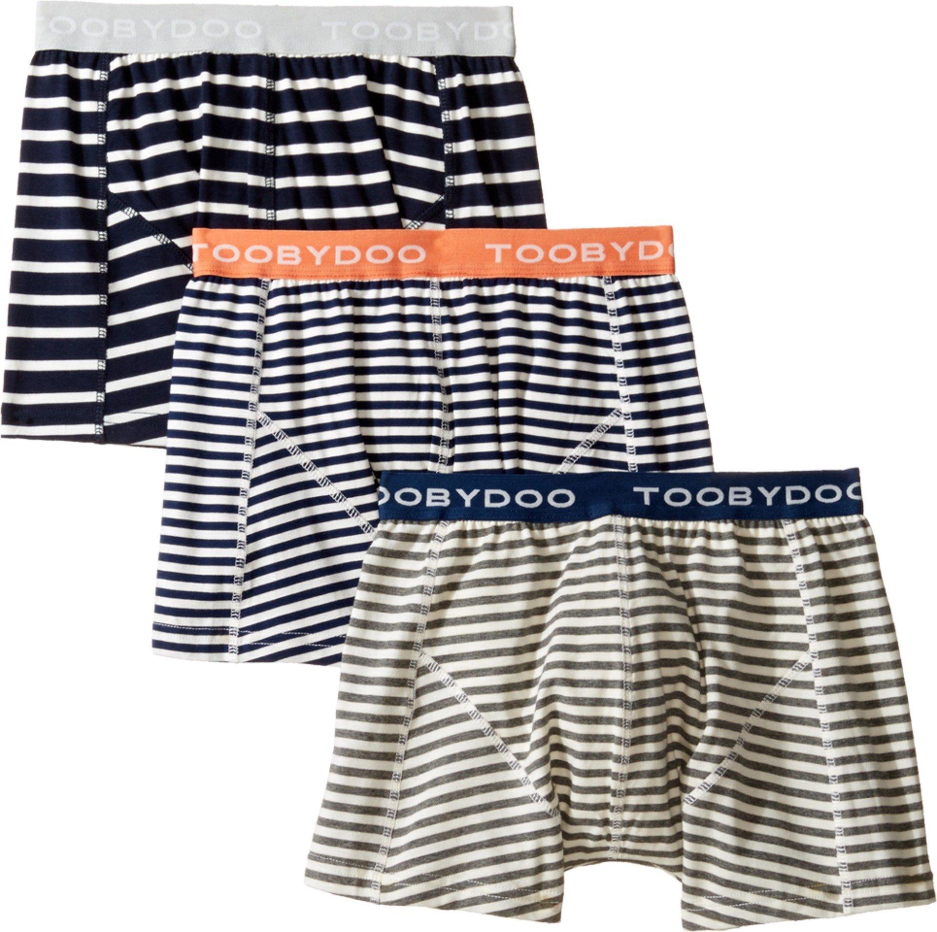 Toobydoo Baby Boy's Multi Stripe Underwear 3-Pack (Infant/Toddler/Little Kids/Big Kids) Navy/Grey/White Underwear