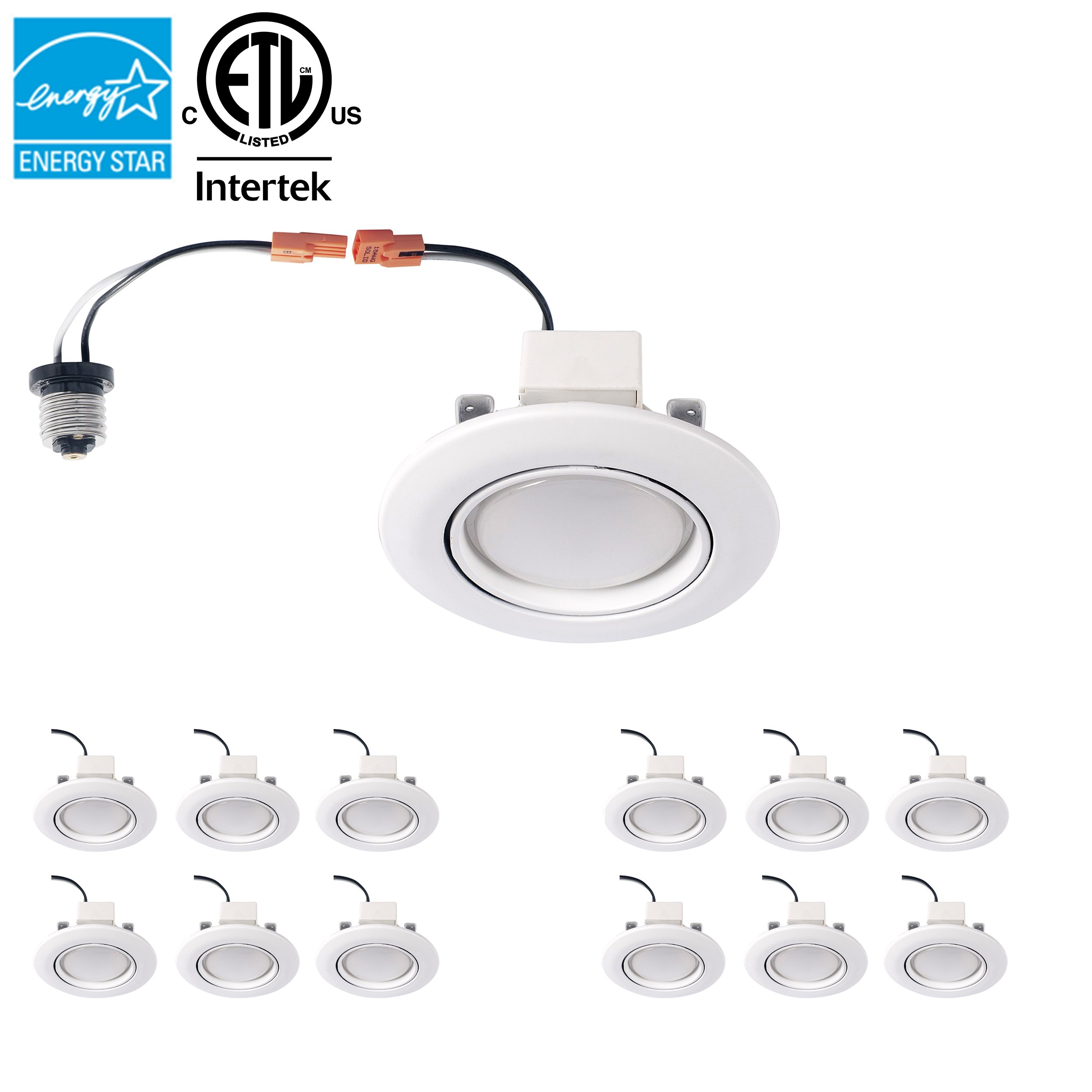 Parmida (12 Pack) 4 inch Dimmable LED Adjustable Gimbal Eyeball Retrofit Recessed Downlight, 10W (65W Replacement), Directional Swivel Can Lighting Trim, 650lm, ENERGY STAR & ETL, 3000K (Soft White)