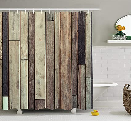 Amazon.com: Ambesonne Wooden Shower Curtain Set, Antique Old Planks ...