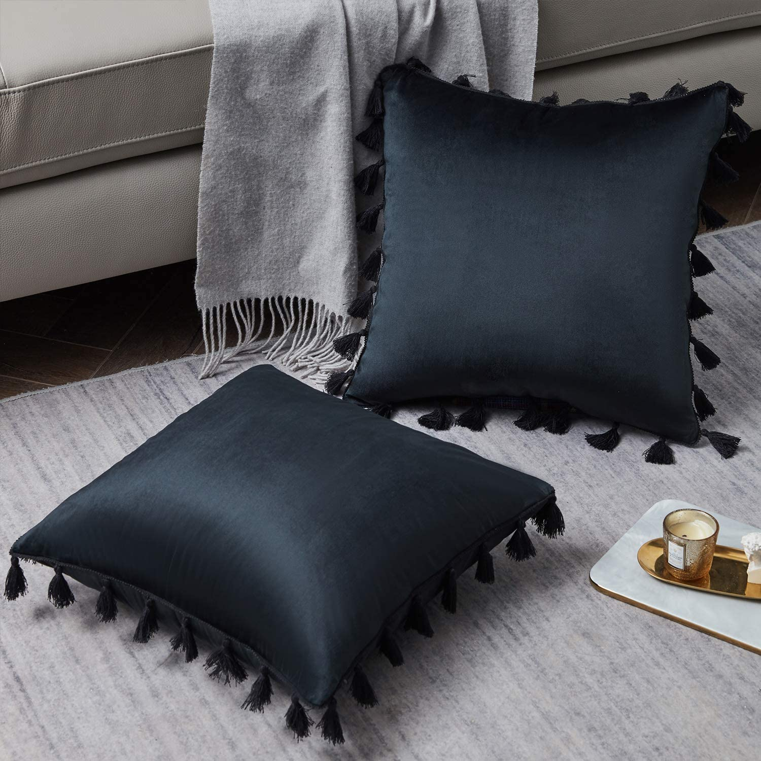 Bed Navy Blue 18 x 18 Inch Sofa Solid Cushion Case for Couch WESTERN HOME WH Pack of 2 Boho Throw Pillows Decorative Throw Pillow Covers with Tassels Soft Square Velvet Pillowcase
