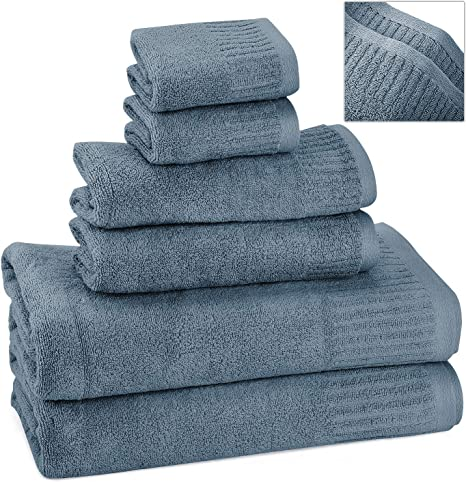 Amazon Com Bath Towels Towel Sets Washcloths 100 Cotton No Lint No Fading Highly Absorbent Blue 2piece Kitchen Dining