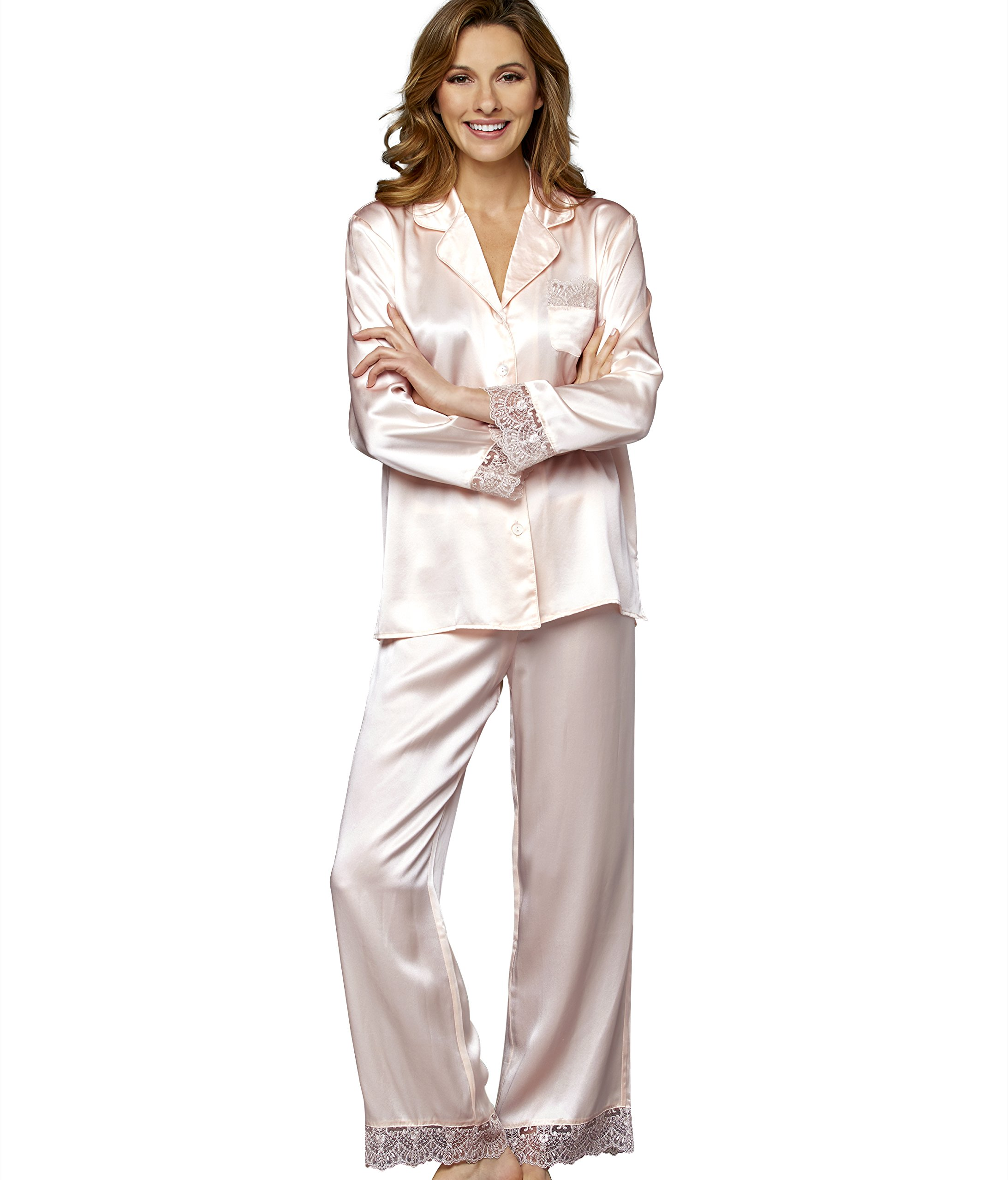 Julianna Rae Sleep-in Women's 100% Silk Pajama, Petite, Ballet, MP