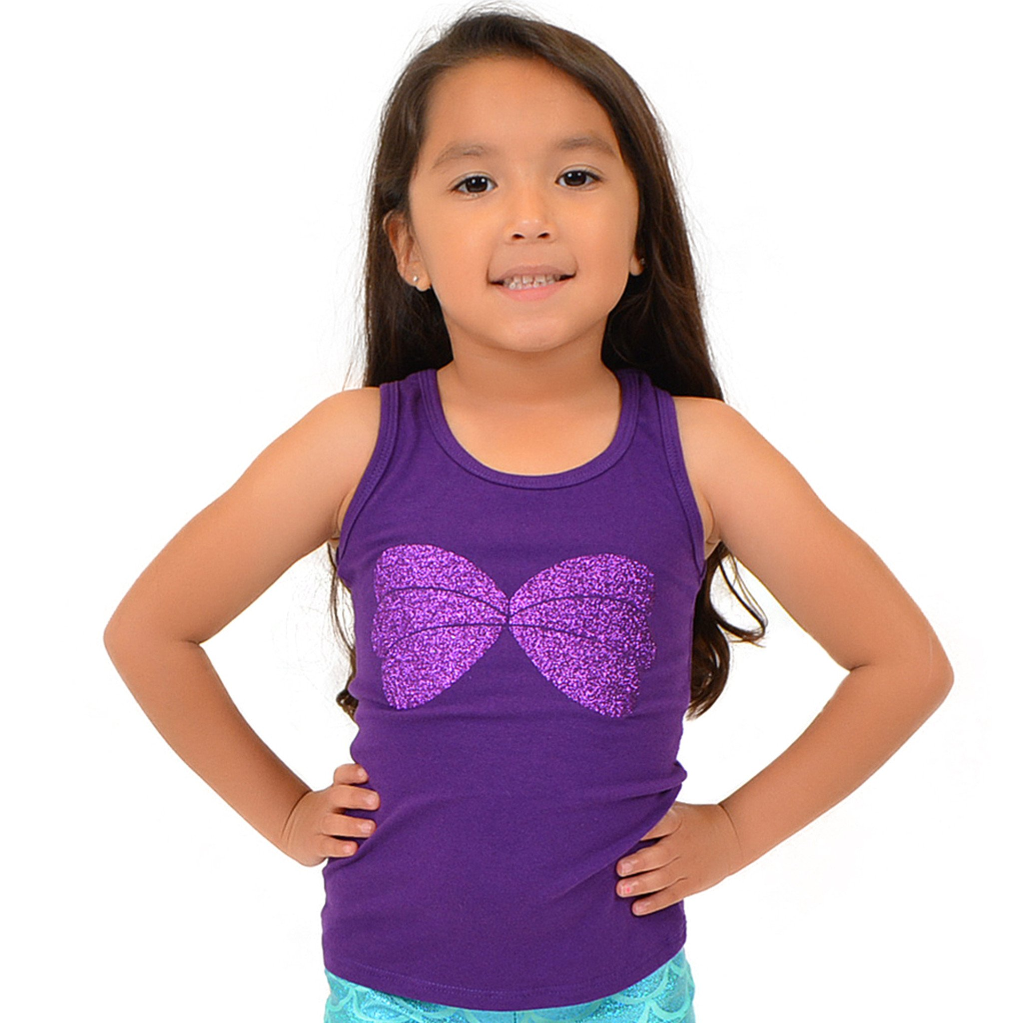 Stretch is Comfort Girl's Cotton Mermaid Seashell Sparkly Ariel Tank Top Purple Large
