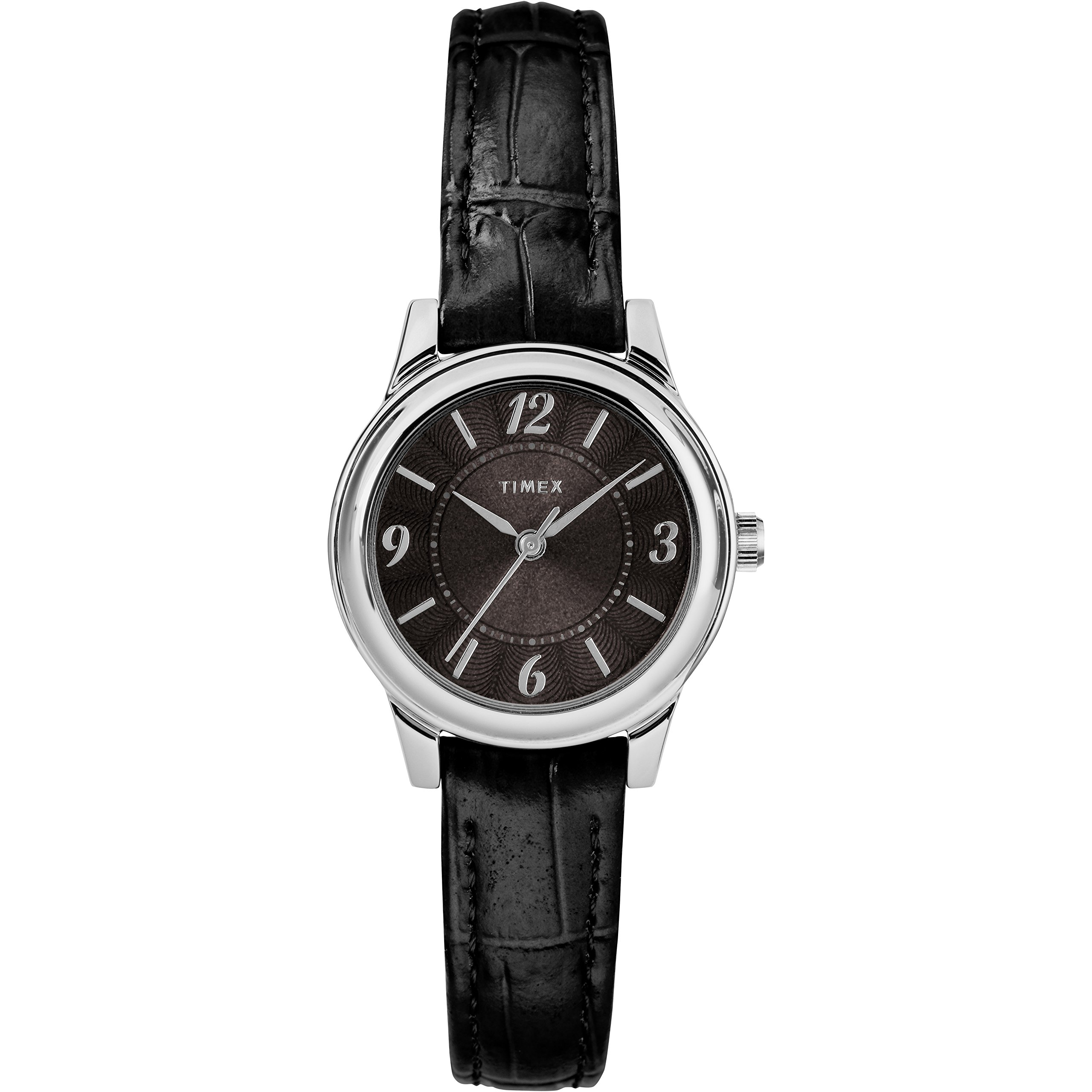 Timex Women's TW2R86300 Basics 26mm Black/Silver-Tone Croco Pattern Leather Strap Watch