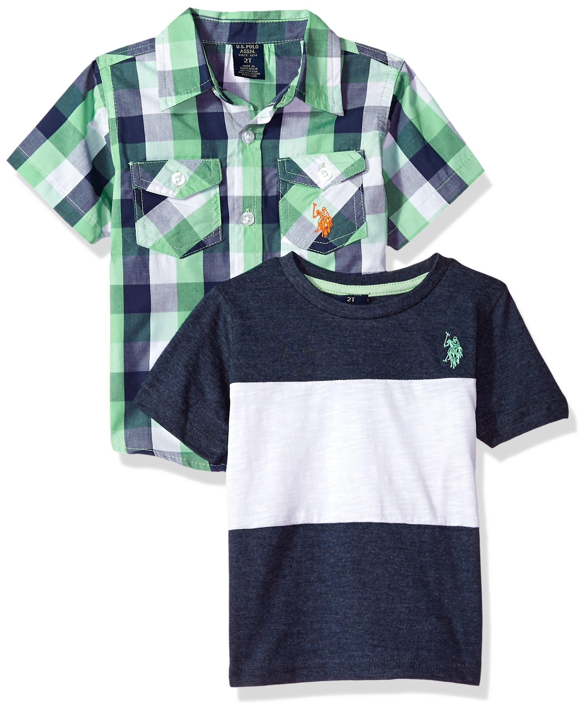 U.S. Polo Assn. Little Boys' Short Sleeve Woven Shirt and T-Shirt Set, Green Plaid Woven Thick Stripe El Indigo Blue Heather, 7