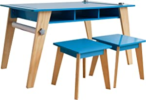 Wildkin Kids Arts and Crafts Table Set for Boys and Girls, Mid Century Modern Design Craft Table Includes Two Stools, Paper and Storage Cubbies Underneath Helps Keep Art Supplies Organized (Blue)