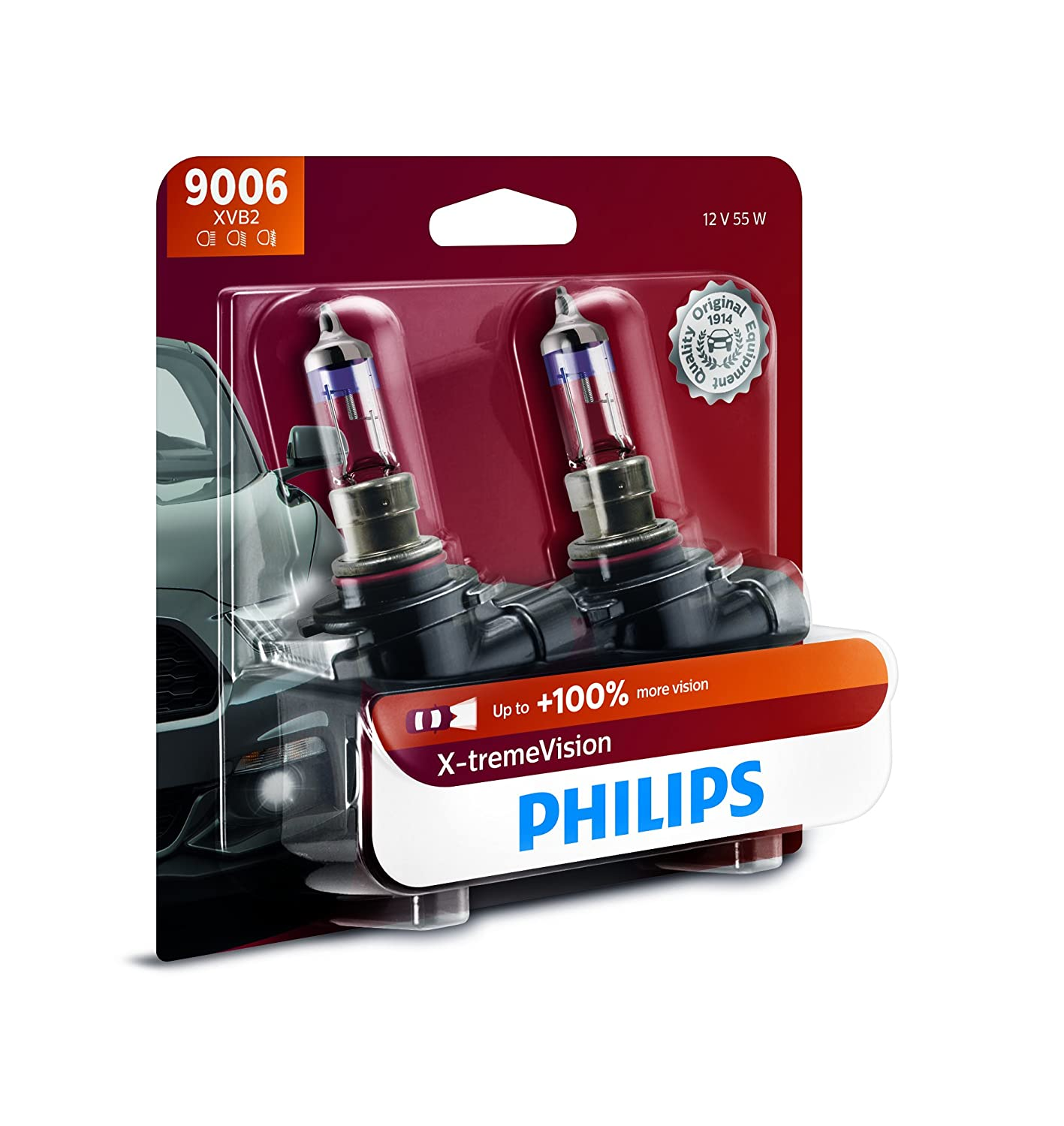 Philips H7 X-tremeVision Upgrade Headlight Bulb with up to 100% More Vision, 2 Pack 12972XVB2